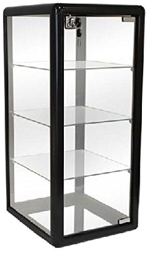 PROFESSIONAL DISPLAY CASE: Only Hangers Elegant Black Aluminum Table Top Tempered Glass Display Showcase with (3) Glass Shelves. Hinged Glass Door Includes Lock and Key - Area 399 Hachune Rage