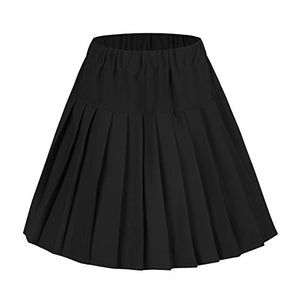 Urban CoCo Women's Elastic Waist Tartan Pleated School Skirt (Large, Solid Balck) - Area 399 Hachune Rage