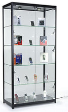 Load image into Gallery viewer, PROFESSIONAL DISPLAY CASE:  Displays2go Tempered Glass Curio Cabinet With 8 Halogen Lights, 78 x 40 x 16.5-Inch, Free-Standing, Locking Hinged Doors, Floor Levelers And 4 Green Edge Glass Shelves - Black, Aluminum - Area 399 Hachune Rage