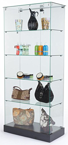 PROFESSIONAL DISPLAY CASE: Tempered Glass Frameless Design Display Case With 4 Shelves And Black Laminate Base, 31 x 71 x 15-3/4-Inch - Area 399 Hachune Rage
