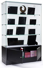 "Load image into Gallery viewer, PROFESSIONAL DISPLAY CASE: 48"" Glass Display Cabinet with 3 Glass Shelves, Separate Storage Area in Base, Sliding Doors (Black) - Area 399 Hachune Rage"