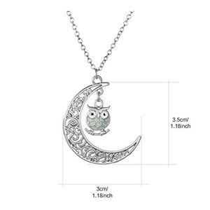 Onairmall Onairmall Luminous Series Owl Moon Necklace Fluorescent Necklace,Glow in the Dark (Blue) - Area 399 Hachune Rage