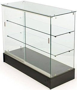 PROFESSIONAL DISPLAY CASE: Free-Standing Tempered Glass Display Case, 48 x 38 x 18-1/4-Inch, Black Melamine Base With Sliding Doors - Area 399 Hachune Rage