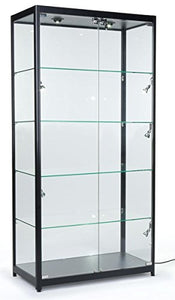 PROFESSIONAL DISPLAY CASE:  Displays2go Tempered Glass Curio Cabinet With 8 Halogen Lights, 78 x 40 x 16.5-Inch, Free-Standing, Locking Hinged Doors, Floor Levelers And 4 Green Edge Glass Shelves - Black, Aluminum - Area 399 Hachune Rage