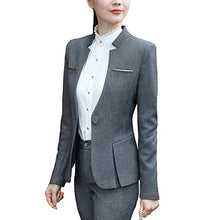 Load image into Gallery viewer, Women's Elegant Business Two Piece Office Lady Suit Set Work Blazer Pant (Dark Grey, L) - Area 399 Hachune Rage