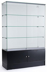 "PROFESSIONAL DISPLAY CASE: 48"" Glass Display Cabinet with 3 Glass Shelves, Separate Storage Area in Base, Sliding Doors (Black) - Area 399 Hachune Rage"