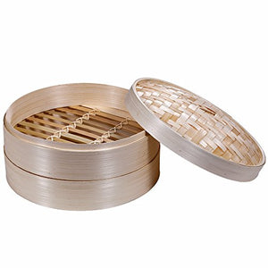 Premium 2 Tier Non-stick Bamboo Steamer - A Deluxe Asian Steamer by Saint Germain Bakery - Area 399 Hachune Rage