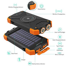 Load image into Gallery viewer, PORTABLE SOLAR CHARGER: Solar Power Bank, Qi Portable Charger 10,000mAh External Battery Pack Type C Input Port Dual Flashlight, Compass (Splashproof, Dustproof, Shockproof, Solar Panel, DC5V/2.1A) (Orange, 10000mAh) - Area 399 Hachune Rage