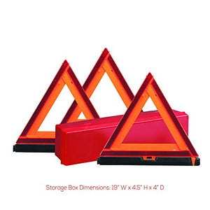 Deflecto Early Warning Road Safety Reflective Triangle Kit, Folding Design, Fluorescent Orange, Plastic, with Storage Box, 3 Pack (73-0711-00) - Area 399 Hachune Rage
