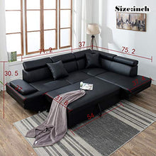 Load image into Gallery viewer, Sofa Sectional Sofa Living Room Furniture Sofa Set Leather Futon Sleeper Couch Bed Modern Contemporary Upholstered - Area 399 Hachune Rage
