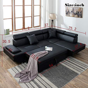 Sofa Sectional Sofa Living Room Furniture Sofa Set Leather Futon Sleeper Couch Bed Modern Contemporary Upholstered - Area 399 Hachune Rage