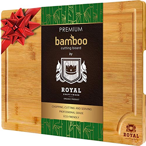 Organic Bamboo Cutting Board with Juice Groove - Best Kitchen Chopping Board for Meat (Butcher Block) Cheese and Vegetables | Anti Microbial Heavy Duty Serving Tray w/Handles (XL (18x12