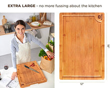 "Load image into Gallery viewer, Organic Bamboo Cutting Board with Juice Groove - Best Kitchen Chopping Board for Meat (Butcher Block) Cheese and Vegetables | Anti Microbial Heavy Duty Serving Tray w/Handles (XL (18x12"")) - Area 399 Hachune Rage"