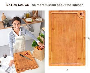 "Organic Bamboo Cutting Board with Juice Groove - Best Kitchen Chopping Board for Meat (Butcher Block) Cheese and Vegetables | Anti Microbial Heavy Duty Serving Tray w/Handles (XL (18x12"")) - Area 399 Hachune Rage"
