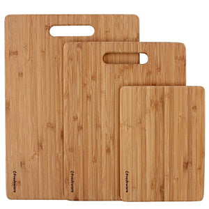 Freshware Cutting Boards [Bamboo, Set of 3] - Eco-Friendly Wood Chopping Boards for Food Prep, Meat, Vegetables, Fruits, Crackers & Cheese - 100% Natural Bamboo - Area 399 Hachune Rage