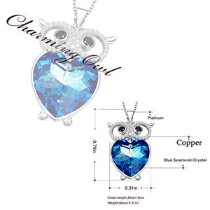 The Heart of the Sea Necklace Blue Crystal Heart of the Ocean Necklace Copper Owl Pendant Necklace Gifts for Women and Girls - Area 399 Hachune Rage