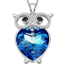 Load image into Gallery viewer, The Heart of the Sea Necklace Blue Crystal Heart of the Ocean Necklace Copper Owl Pendant Necklace Gifts for Women and Girls - Area 399 Hachune Rage