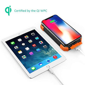 PORTABLE SOLAR CHARGER: Solar Power Bank, Qi Portable Charger 10,000mAh External Battery Pack Type C Input Port Dual Flashlight, Compass (Splashproof, Dustproof, Shockproof, Solar Panel, DC5V/2.1A) (Orange, 10000mAh) - Area 399 Hachune Rage