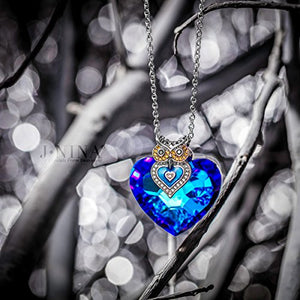 J.NINA Women Neckalce Heart Pendant Big Blue Swarovski Crystals Owl Sapphire Fashion Costume Jewelry Anniversary Birthday Gifts Present for Her Ladies Girls Wife Girlfriend Sister Mom Mother Lover - Area 399 Hachune Rage