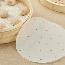 Load image into Gallery viewer, TraveT 50pcs Round Perforated Bamboo Steamer Paper Liners For Air Fryer, Steaming Basket, Cooking, Rice, Dim Sum - Area 399 Hachune Rage