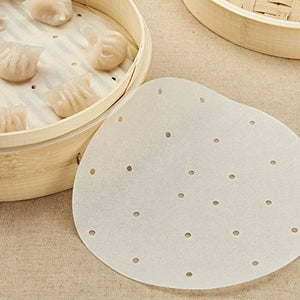 TraveT 50pcs Round Perforated Bamboo Steamer Paper Liners For Air Fryer, Steaming Basket, Cooking, Rice, Dim Sum - Area 399 Hachune Rage