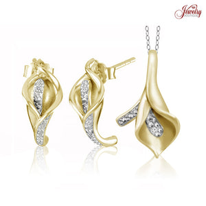 Diamond Accent Calla Lily Pendant Necklace or Earrings SILVER/ROSE or YELLOW- Assorted - Area 399 Hachune Rage