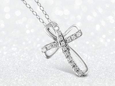 1/4ctw Genuine Diamond Ribbon Cross Pendant Necklace in Sterling Silver Assorted Varieties Option - Area 399 Hachune Rage