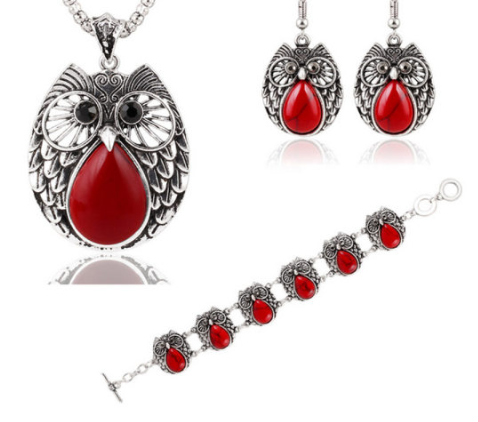 Metal Owl RED Three Suit Necklace Bracelet Earring - Area 399 Hachune Rage