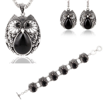 Load image into Gallery viewer, Metal Owl Black Three Suit Necklace Bracelet Earring - Area 399 Hachune Rage