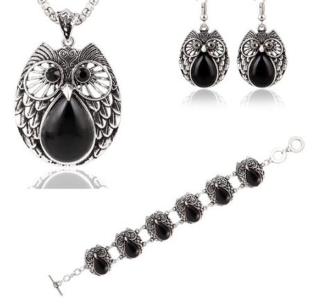 Metal Owl Black Three Suit Necklace Bracelet Earring - Area 399 Hachune Rage