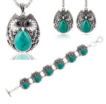 Load image into Gallery viewer, Metal Owl Turquoise Three Suit Necklace Bracelet Earring - Area 399 Hachune Rage