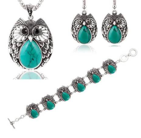 Metal Owl Turquoise Three Suit Necklace Bracelet Earring - Area 399 Hachune Rage