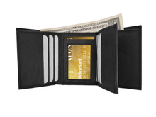 Load image into Gallery viewer, RFID-Blocking Genuine Leather Tri-Fold Wallet BLACK - Area 399 Hachune Rage