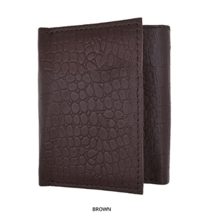 RFID-Blocking Genuine Leather Tri-Fold Wallet BROWN - Area 399 Hachune Rage