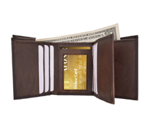 Load image into Gallery viewer, RFID-Blocking Genuine Leather Tri-Fold Wallet BROWN - Area 399 Hachune Rage