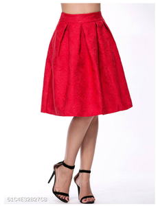 Red Inverted Pleat Embossed Flared Midi Skirt - Area 399 Hachune Rage