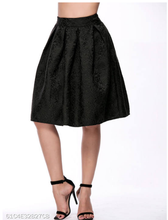 Load image into Gallery viewer, Black Inverted Pleat Embossed Flared Midi Skirt - Area 399 Hachune Rage
