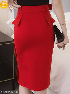 Red Plain Belt Peplum Side Slit Pencil Midi Skirt - Area 399 Hachune Rage
