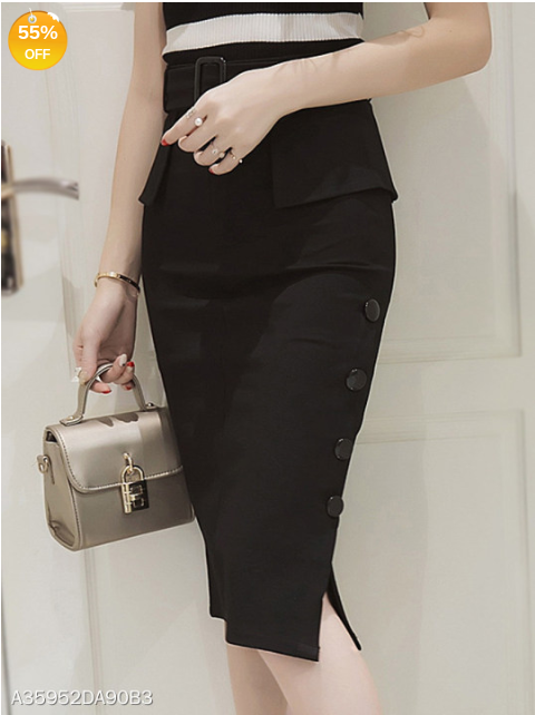 Black Plain Belt Peplum Side Slit Pencil Midi Skirt - Area 399 Hachune Rage