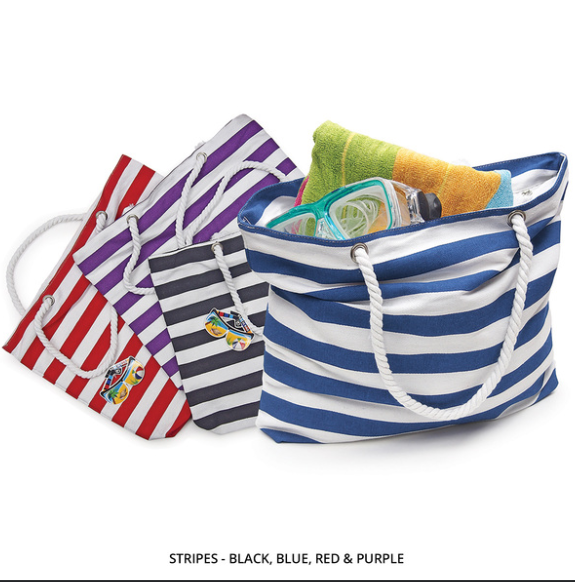 Durable Canvas Beach Tote with Rope Handles - STRIPED or CHEVRON - Area 399 Hachune Rage