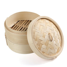 "Load image into Gallery viewer, 8"" inch 2 Tier Bamboo Steamer Basket Set Chinese Steamer with Lid for Cooking Food - Area 399 Hachune Rage"