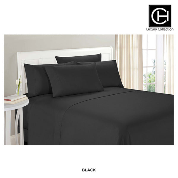 6-Piece Set: Double-Brushed Blissful Dreams Sheets -  Black - Area 399 Hachune Rage