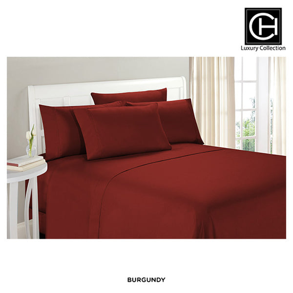 6-Piece Set: Double-Brushed Blissful Dreams Sheets - Burgundy - Area 399 Hachune Rage