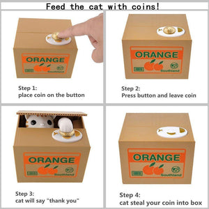 Automated Cat Steals Your Coin Piggy Bank Box - Area 399 Hachune Rage