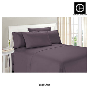 6-Piece Set: Double-Brushed Blissful Dreams Sheets - Eggplant - Area 399 Hachune Rage