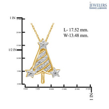 Load image into Gallery viewer, Christmas Tree Pendant Necklace Gold over Silver - White Diamond - Area 399 Hachune Rage