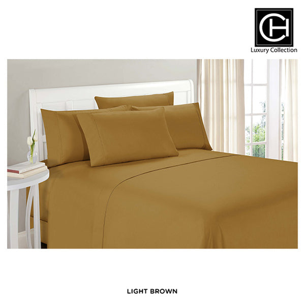 6-Piece Set: Double-Brushed Blissful Dreams Sheets - Light Brown - Area 399 Hachune Rage