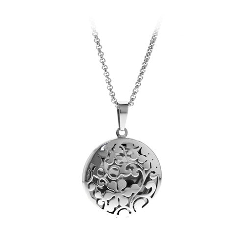 Round Cut-Out Locket Pendant in Stainless Steel - Area 399 Hachune Rage