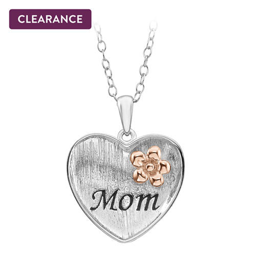 Mom with Flower Heart Pendant in Sterling Silver - Area 399 Hachune Rage