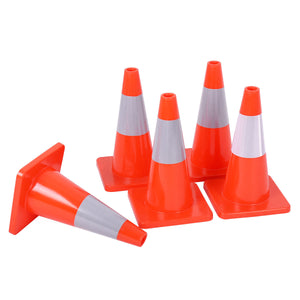 Costway 5PCS Traffic Cones 18'' Slim Fluorescent Reflective Road Safety Parking Cones - Area 399 Hachune Rage